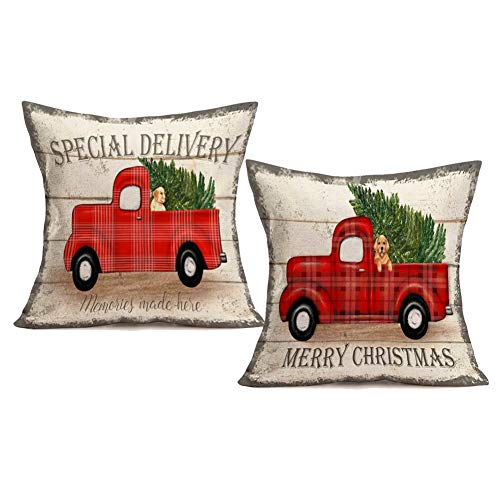 Royalours Throw Pillow Covers Cotton Linen Set Of 2 Merry Christmas Pillow Cover Red Truck With Tree Dog Cushion Cover Farmhouse Decorative Throw Pillow Case 18 X 18 2Pack Car Dog 0
