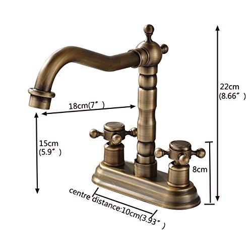 Rozin 4 Inch Centre Hole Bathroom Sink Faucet 2 Knobs Basin Mixer Tap Antique Brass 0 0
