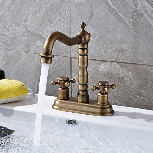 Rozin 4 Inch Centre Hole Bathroom Sink Faucet 2 Knobs Basin Mixer Tap Antique Brass 0 3
