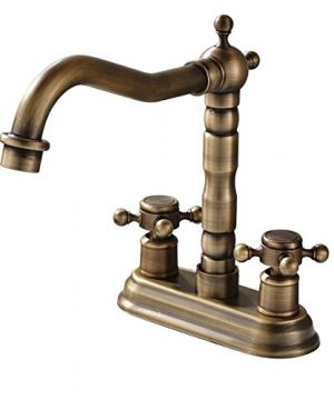 Rozin 4 Inch Centre Hole Bathroom Sink Faucet 2 Knobs Basin Mixer Tap Antique Brass 0 300x360