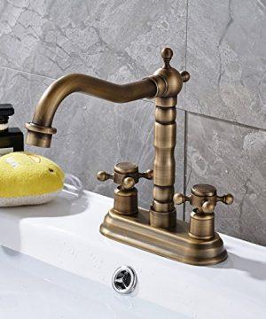 Rozin 4 Inch Centre Hole Bathroom Sink Faucet 2 Knobs Basin Mixer Tap Antique Brass 0 4 300x360