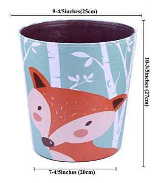 RuiyiF Waste Basket Deskside Decorative Farmhouse Trash Can Withoud Lid For Bathroom Kids Room Girls Bedroom Garbage Cans For Kitchen Office Recycling Bin Fox 0 5 300x360