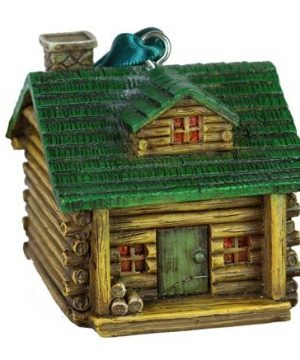 Rustic Axentz Log Cabin Camping Figure Collectible Ornament 25 Hanging Tree Decoration 0 300x360