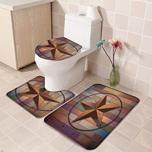 Rustic Barn Star Vintage Texas Star Wooden 3 Piece Plush Bathroom Rugs Set Non Slip Water Absorbent Shower Bath Mats U Shape Contoured Toilet Mat Lid Cover 20x3116x1816x20 Brown 0 2