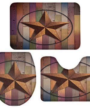 Rustic Barn Star Vintage Texas Star Wooden 3 Piece Plush Bathroom Rugs Set Non Slip Water Absorbent Shower Bath Mats U Shape Contoured Toilet Mat Lid Cover 20x3116x1816x20 Brown 0 300x360