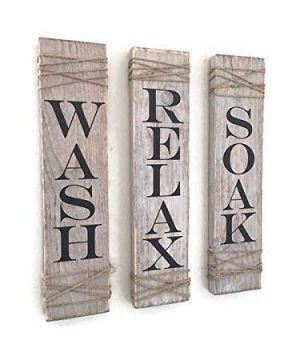 Rustic Bathroom Signs Set Of 3 Farmhouse Bathroom Decor Wash Soak Relax Signs Rustic Decor 0 300x360