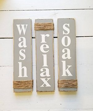 Rustic Bathroom Signs Wash Relax Soak Gray Farmhouse Wooden Signs For Bathroom Decor Primitive Wood Signs Set Of Three 0 300x360