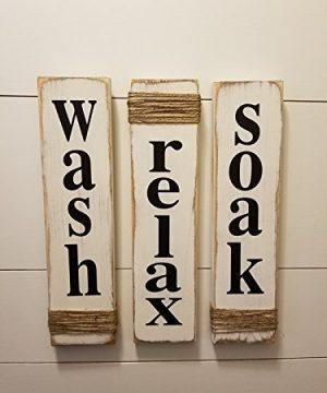 Rustic Bathroom Signs Wash Relax Soak White Farmhouse Wooden Signs For Bathroom Decor Primitive Wood Signs Set Of Three 0 300x360