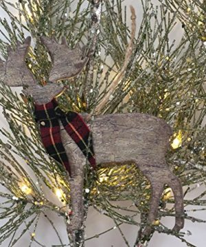 Rustic Christmas Ornaments Set Wooden Deer Bear And Evergreen Tree With Red Tartan Plaid Accents 0 0 300x360
