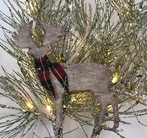 Rustic Christmas Ornaments Set Wooden Deer Bear And Evergreen Tree With Red Tartan Plaid Accents 0 0