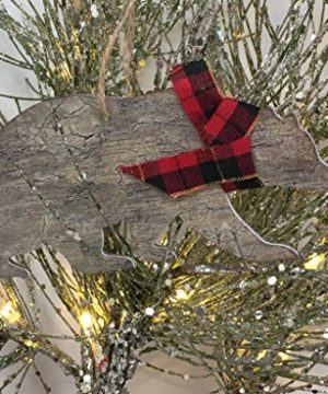 Rustic Christmas Ornaments Set Wooden Deer Bear And Evergreen Tree With Red Tartan Plaid Accents 0 2 300x360