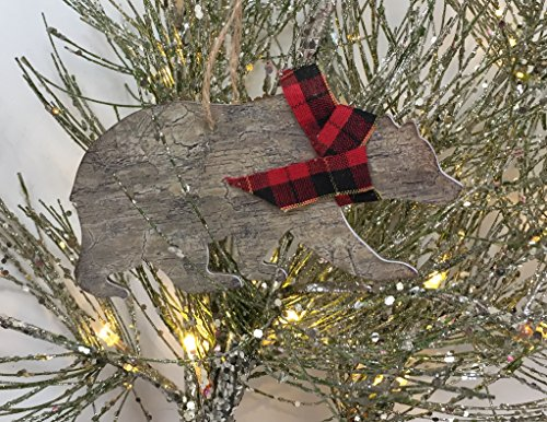 Rustic Christmas Ornaments Set Wooden Deer Bear And Evergreen Tree With Red Tartan Plaid Accents 0 2