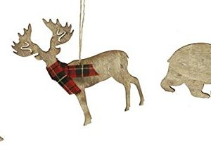Rustic Christmas Ornaments Set Wooden Deer Bear And Evergreen Tree With Red Tartan Plaid Accents 0 300x215