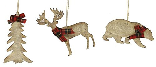 Rustic Christmas Ornaments Set Wooden Deer Bear And Evergreen Tree With Red Tartan Plaid Accents 0