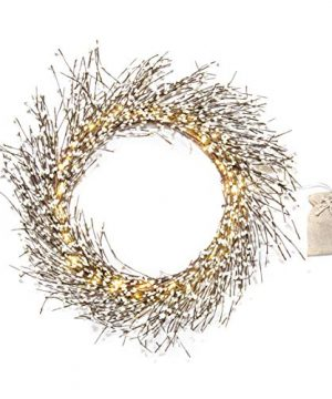 Rustic Fall Wreath With Lights 22 Inch Twig Wreath With White Pip Berries 100 Bright LED IndoorOutdoor Battery Operated Timer Included Farmhouse Decor For Autumn 0 0 300x360