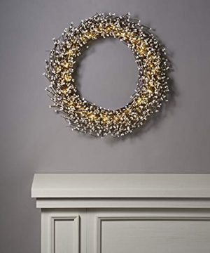 Rustic Fall Wreath With Lights 22 Inch Twig Wreath With White Pip Berries 100 Bright LED IndoorOutdoor Battery Operated Timer Included Farmhouse Decor For Autumn 0 3 300x360