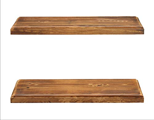 Rustic Farmhouse 2 Tier Floating Shelf With Routered Edges Distressed Oak 2 Tier 24 Length 8 Width 0 3