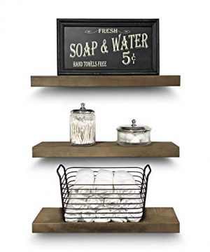 Rustic Farmhouse 3 Tier Floating Wood Shelf Real Hardwood Floating Wall Shelves Set Of 3 Hardware And Fasteners Included White Oak 20 0 0 300x360