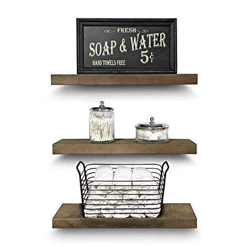 Rustic Farmhouse 3 Tier Floating Wood Shelf Real Hardwood Floating Wall Shelves Set Of 3 Hardware And Fasteners Included White Oak 20 0 0