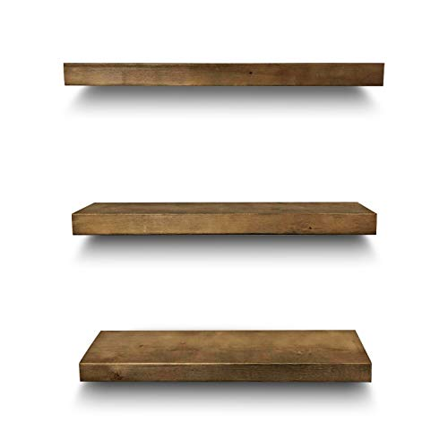 Rustic Farmhouse 3 Tier Floating Wood Shelf Real Hardwood Floating Wall Shelves Set Of 3 Hardware And Fasteners Included White Oak 20 0 3
