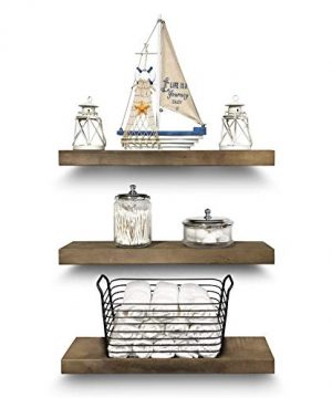 Rustic Farmhouse 3 Tier Floating Wood Shelf Real Hardwood Floating Wall Shelves Set Of 3 Hardware And Fasteners Included White Oak 20 0 300x360