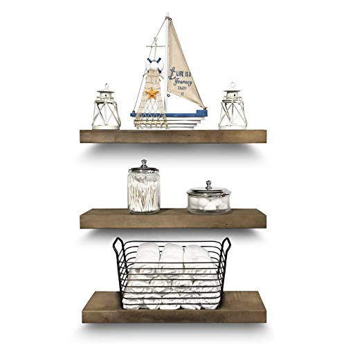 Rustic Farmhouse 3 Tier Floating Wood Shelf Real Hardwood Floating Wall Shelves Set Of 3 Hardware And Fasteners Included White Oak 20 0