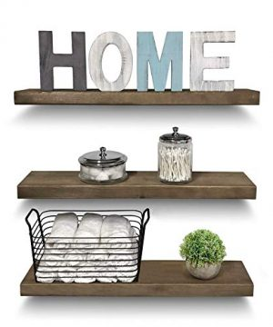 Rustic Farmhouse 3 Tier Floating Wood Shelf Real Hardwood Floating Wall Shelves Set Of 3 Hardware And Fasteners Included White Oak 24 0 0 300x360