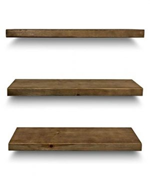 Rustic Farmhouse 3 Tier Floating Wood Shelf Real Hardwood Floating Wall Shelves Set Of 3 Hardware And Fasteners Included White Oak 24 0 3 300x360