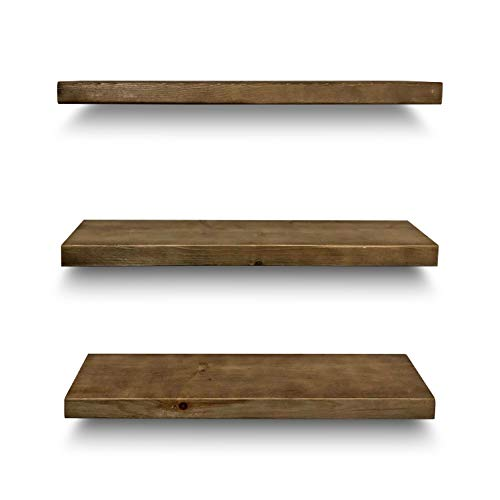 Rustic Farmhouse 3 Tier Floating Wood Shelf Real Hardwood Floating Wall Shelves Set Of 3 Hardware And Fasteners Included White Oak 24 0 3