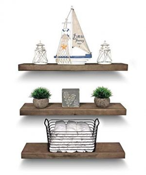 Rustic Farmhouse 3 Tier Floating Wood Shelf Real Hardwood Floating Wall Shelves Set Of 3 Hardware And Fasteners Included White Oak 24 0 300x360