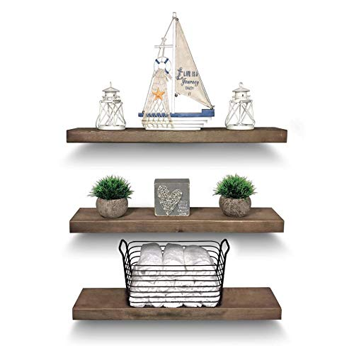 Rustic Farmhouse 3 Tier Floating Wood Shelf Real Hardwood Floating Wall Shelves Set Of 3 Hardware And Fasteners Included White Oak 24 0