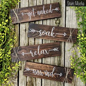 Get Naked Relax Unwind Farmhouse Bathroom Decor Wood Signs Rustic Wall Art Funny Wooden Plaques Easter Gift for Her
