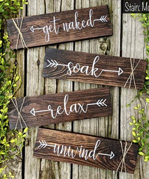 Rustic Farmhouse Bathroom Decor Get Naked Soak Relax Unwind Signs Set Of Four Wooden Wall Hangings 0 300x360