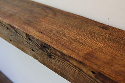 Rustic Fireplace Mantel Floating Wood Shelf Reclaimed Barn Wooden Beam Wall Decor Mounted Farmhouse Shelving Solid Decorative Ledge Organizer NO Hardware Unfinished18 W X 8 D X 275 H 0