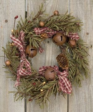 Rustic Holiday Pine Ring Berries Rusty Bells Pinecones Bows Country Primitive Christmas Dcor 0 300x360