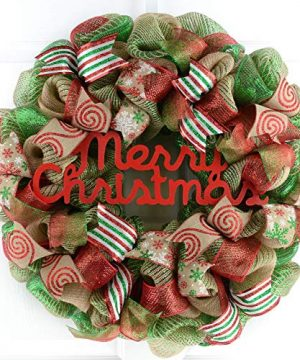 Rustic Merry Christmas Wreath Mesh Christmas Outdoor Front Door Wreath Red Jute Green Burlap 0 300x360