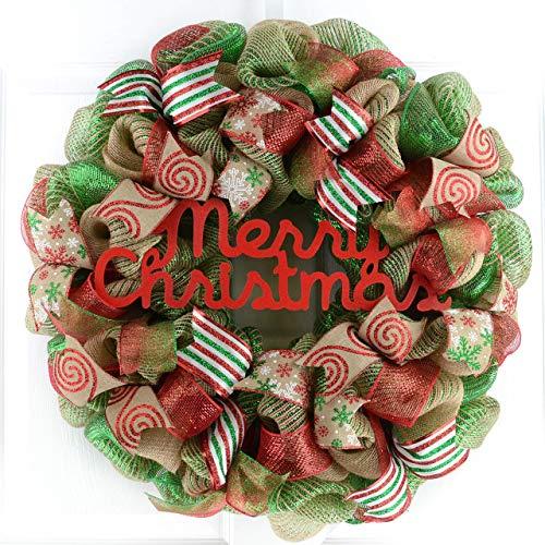Rustic Merry Christmas Wreath Mesh Christmas Outdoor Front Door Wreath Red Jute Green Burlap 0