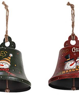 Rustic Metal Snowman Christmas Ornaments Set Of 3 Decorative Hanging Xmas Tree Ornaments For Indoor Outdoor Christmas Tree Decoration Holiday Party Home Decor 43x4 Bell Set Of 2 0 300x360