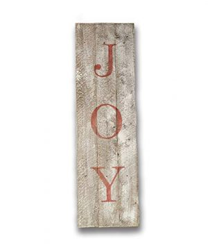 Rustic Wood Joy Christmas Sign For Porch Or Wall Reclaimed Wood Barnwood Holiday Decor Whitewash With Red 0 300x360