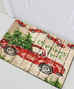 Rustic Wooden Planks Christmas Retro Red Truck Bathroom RugIndoor Non Slip Door MatChildrens Bathroom Carpet236315 InBathroom Accessories 0 300x360