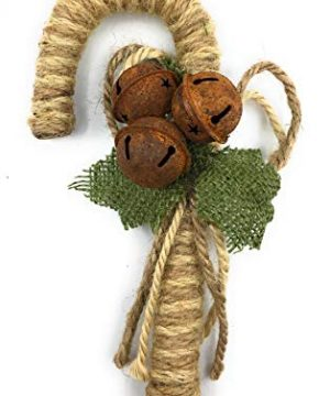 Ruth Wilde Farmhouse Christmas Burlap Candy Cane Ornaments Set Of 3 7 Inches 0 0 300x360