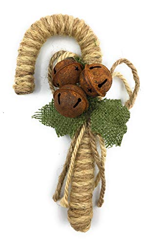 Ruth Wilde Farmhouse Christmas Burlap Candy Cane Ornaments Set Of 3 7 Inches 0 0