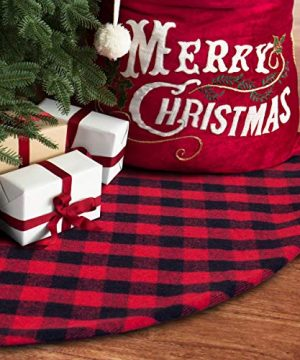S DEAL Checked Tree Skirt Plaid Christmas Double Layers Dcor For Indoor Outdoor Mat Xmas Party 0 300x360