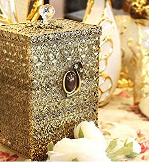 SEHAMANO Antique Rectangular Wastebasket Vintage Decorative Small Trash Can Classic Garbage Container Bin For Vanity Bedroom Kitchen Powder Rooms Home Office Rubbish Bin Brass Matt Gold 0 0 300x327