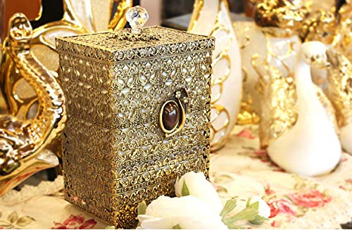 SEHAMANO Antique Rectangular Wastebasket Vintage Decorative Small Trash Can Classic Garbage Container Bin For Vanity Bedroom Kitchen Powder Rooms Home Office Rubbish Bin Brass Matt Gold 0 0