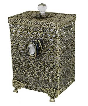 SEHAMANO Antique Rectangular Wastebasket Vintage Decorative Small Trash Can Classic Garbage Container Bin For Vanity Bedroom Kitchen Powder Rooms Home Office Rubbish Bin Brass Matt Gold 0 1 300x360