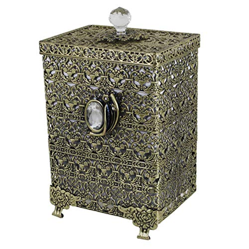 SEHAMANO Antique Rectangular Wastebasket Vintage Decorative Small Trash Can Classic Garbage Container Bin For Vanity Bedroom Kitchen Powder Rooms Home Office Rubbish Bin Brass Matt Gold 0 1