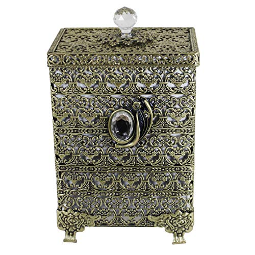 SEHAMANO Antique Rectangular Wastebasket Vintage Decorative Small Trash Can Classic Garbage Container Bin For Vanity Bedroom Kitchen Powder Rooms Home Office Rubbish Bin Brass Matt Gold 0