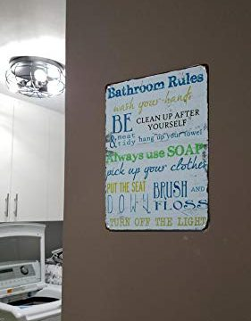 SKYC Laundry Rules Typography Vintage Distressed Metal Tin Signs Rustic Laundry Room Bathroom Wall Plaque 8X12Inch 0 1 281x360