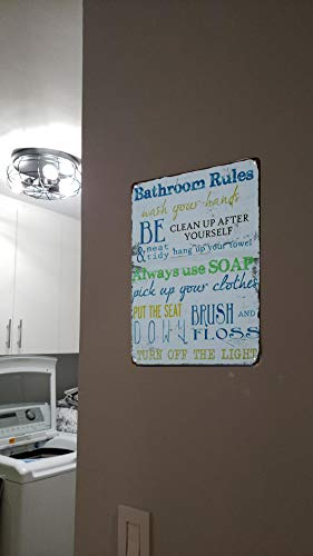 SKYC Laundry Rules Typography Vintage Distressed Metal Tin Signs Rustic Laundry Room Bathroom Wall Plaque 8X12Inch 0 1